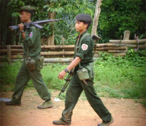 Burma army soldiers patrolling in the village (photo-FBR)