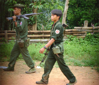 Photo of Burma Army officer abuses and threatens villagers