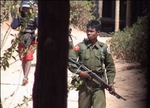 Burma army on patrol