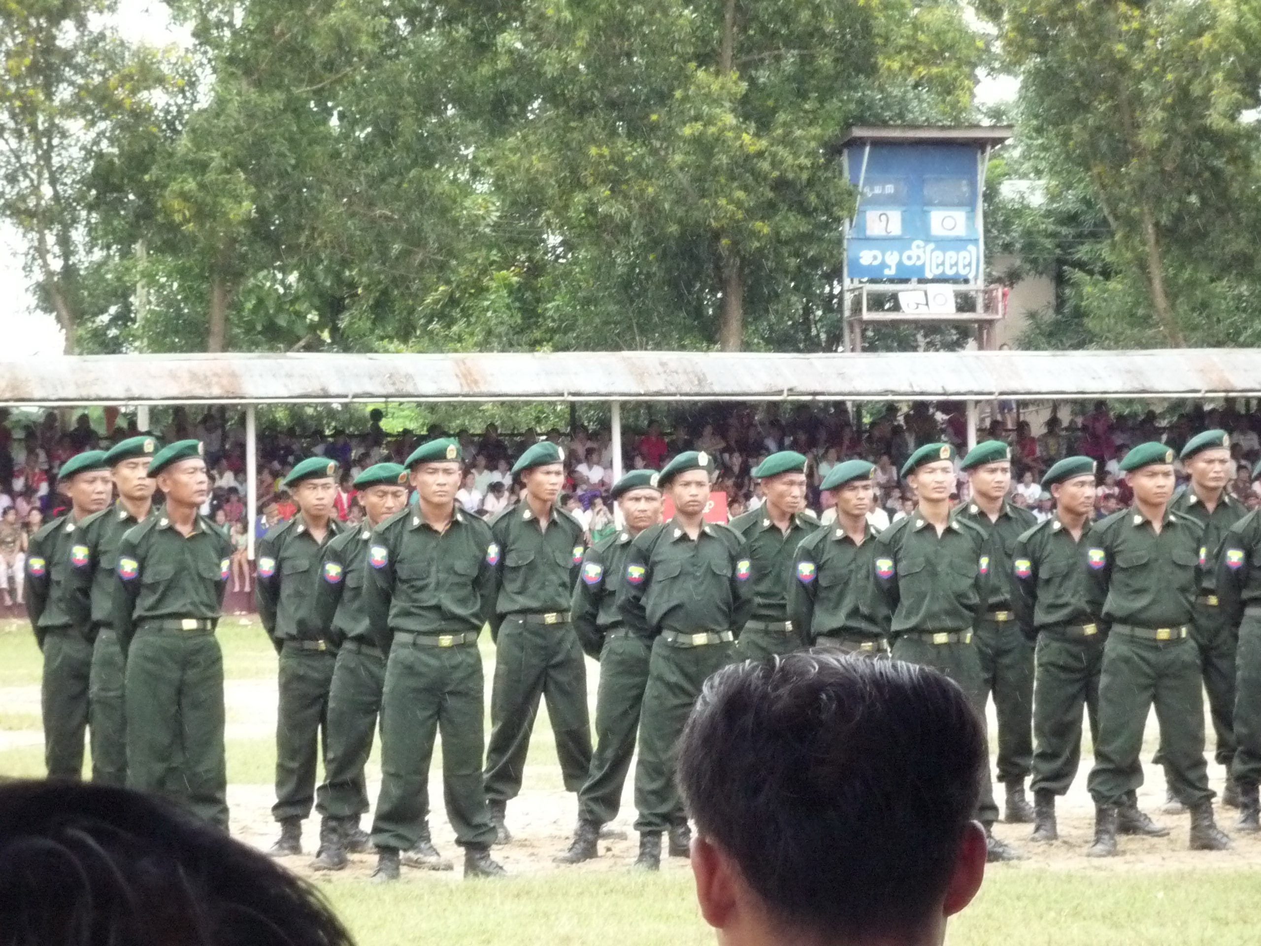 Photo of Monks and BGF force villagers to build Papun bridge