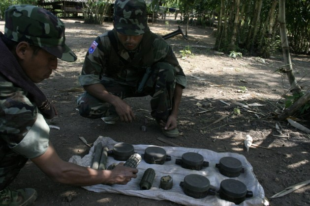 Burma Army landmines (Photo-Phil Thornton)