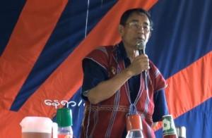 Mahn Nyein Maung giving speech on nationwide ceasefire