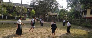 Students playing outside a school in Karen State