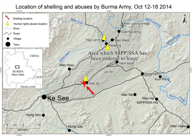 Map showing area of shelling and abuses by Burma army (Map - SHRF)