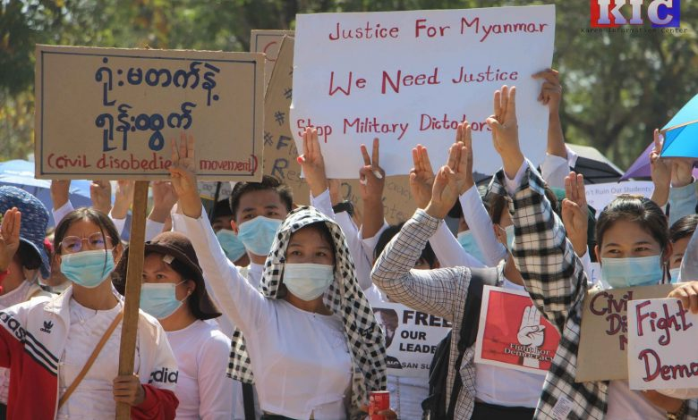 Photo of KNU Offer Anti-Coup Protestors' its Protection – Karen Civil Society Alliance Calls  for Ethnic Armed Groups to Unite and Foreign Embassies Denounce Military Coup